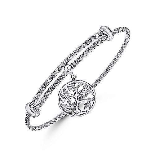 925 Silver and Stainless Steel Nature Charm Bangle angle 2