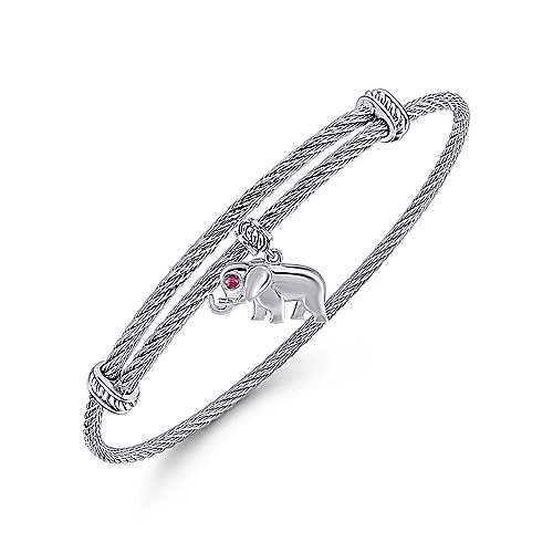 925 Silver/stainless Steel  And Ruby Bangle angle 2