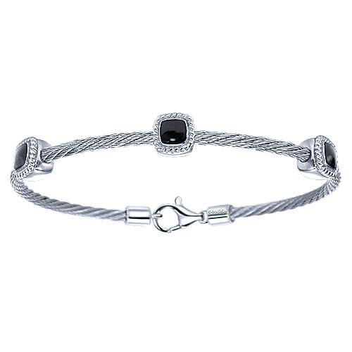 Gabriel - 925 Silver/stainless Steel Steel My Heart Bangle
