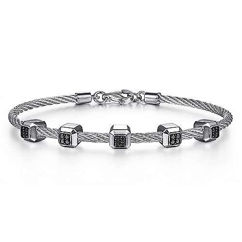 Gabriel - 925 Silver/stainless Steel Steel My Heart Bangle Bracelet