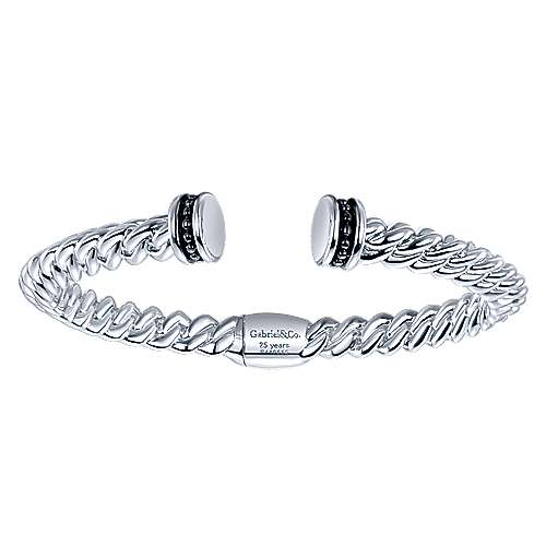 925 Silver/stainless Steel Candlelight Diamond Bangle angle 1