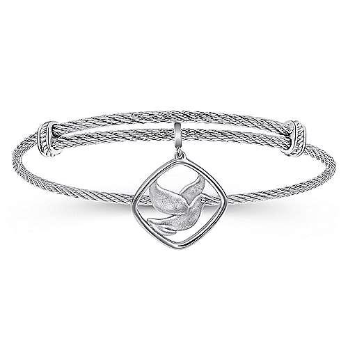 Gabriel - 925 Silver/stainless Steel Steel My Heart Charm Bangle