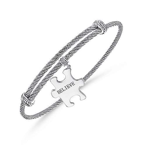 925 Silver/stainless Steel Charm Bangle angle 2