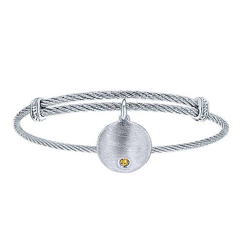 Gabriel - 925 Silver/stainless Steel Steel My Heart Charm Bangle