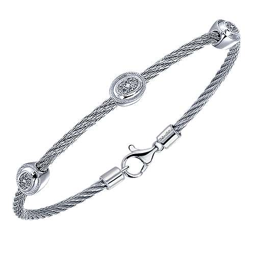 925 Silver/stainless Steel Diamond Bangle angle 2