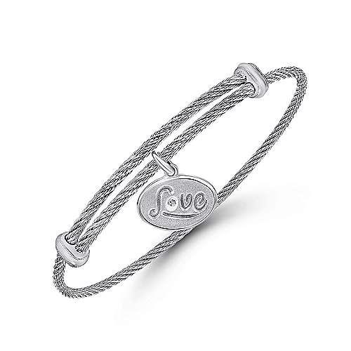 925 Silver/stainless Steel Diamond Charm Bangle angle 2