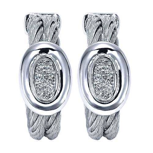 Gabriel - 925 Silver/stainless Steel Huggies Huggie Earrings