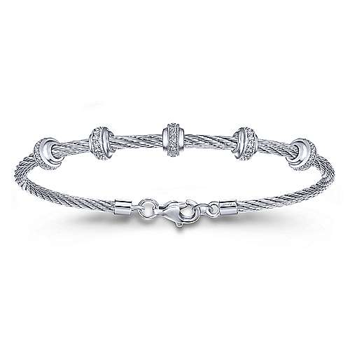 Gabriel - 925 Silver/stainless Steel Steel My Heart Bangle Bracelet