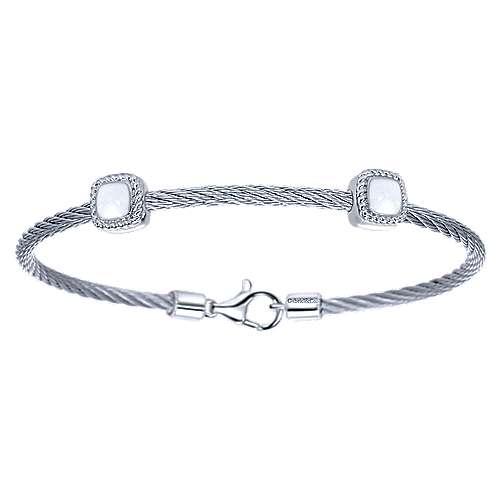 Gabriel - 925 Silver/stainless Steel Steel My Heart Bangle