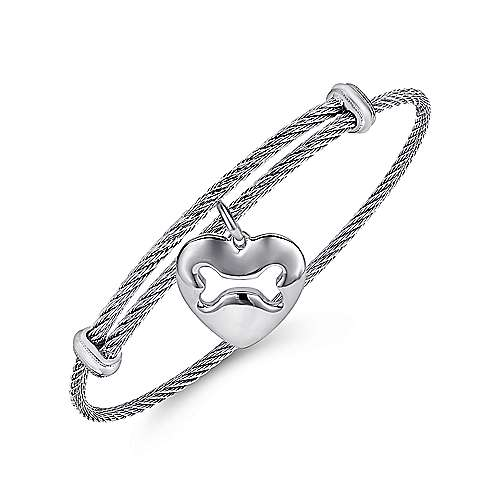 925 Silver/stainless Steel Steel My Heart Charm Bangle angle 2