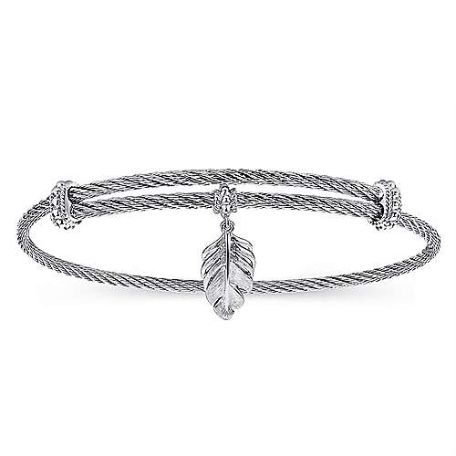 925 Silver/stainless Steel Steel My Heart Charm Bangle angle 1