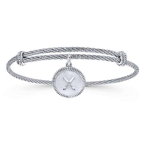 Gabriel - 925 Silver/stainless Steel Steel My Heart Initial Bangle