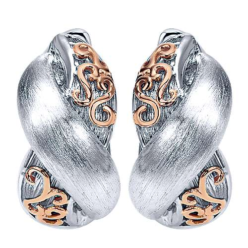Gabriel - 925 Silver/18k Pink Gold Huggies Huggie Earrings