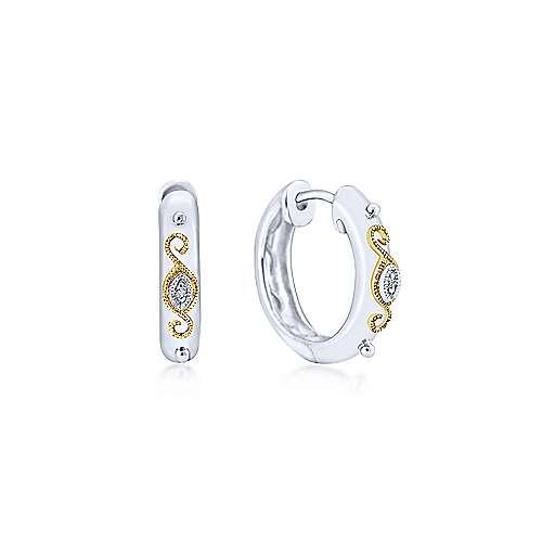 925 Sterling Silver & 18k Yellow Gold Vintage Inspired Huggie Earrings