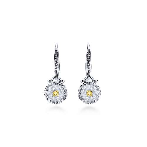925 Sterling Silver & 18k Yellow Gold Vintage Inspired Round Drop Earrings