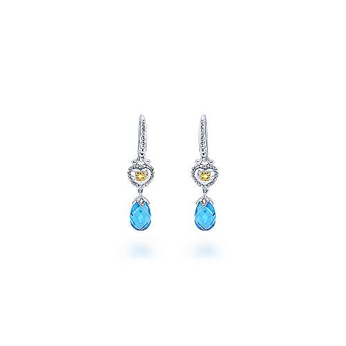 925 Sterling Silver & 18k Yellow Gold Vintage Inspired Swiss Blue Topaz Drop Earrings