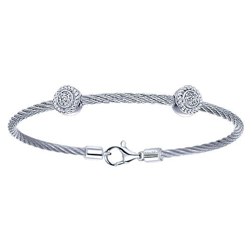 Gabriel - 925 Sterling Silver & Stainless Steel Twisted Cable Diamond Bangle Bracelet
