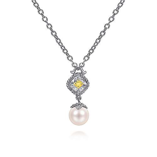 925 Sterling Silver/14k Yellow Gold Vintage Inspired Cultured Pearl Fashion Necklace