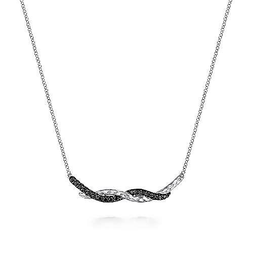 925 Sterling Silver Black Spinel Curving Bar Necklace