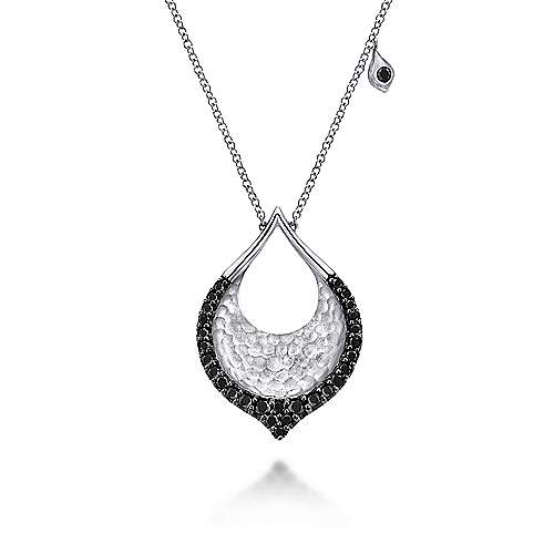 Gabriel - 925 Sterling Silver Black Spinel Fashion Necklace