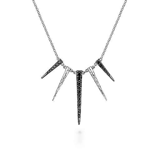 925 Sterling Silver Black Spinel Spike Fashion Necklace