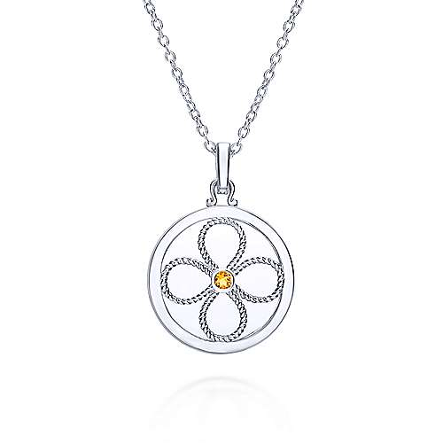 925 Sterling Silver Citrine Locket Necklace