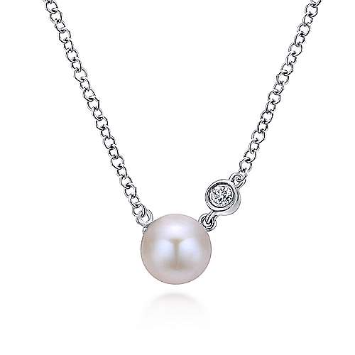 925 Sterling Silver Cultured Pearl Diamond Fashion Necklace