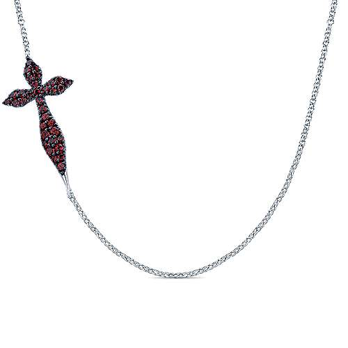 925 Sterling Silver Curving Sideways Garnet Cross Necklace