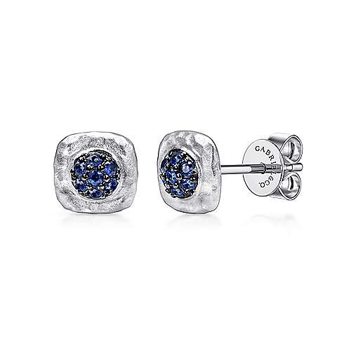 925 Sterling Silver Cushion Cut Sapphire Cluster Stud Earrings