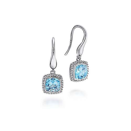 925 Sterling Silver Cushion Cut Swiss Blue Topaz Drop Earrings