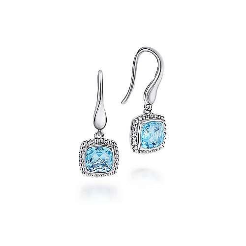 925 Sterling Silver Cushion Cut Swiss Blue Topaz Drop Earrings Eg11699svjbt
