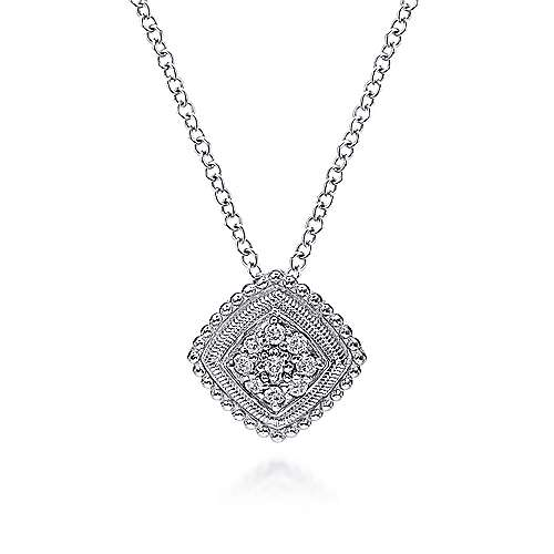 925 Sterling Silver Cushion Diamond Cluster Necklace