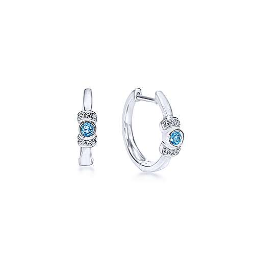 925 Sterling Silver Diamond & Swiss Blue Topaz Huggie Earrings