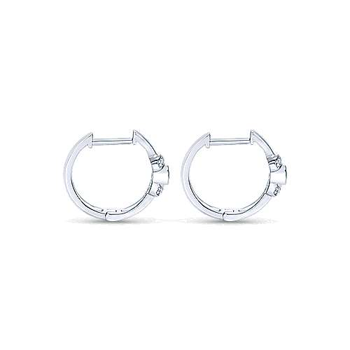 925 Sterling Silver Diamond & Swiss Blue Topaz Huggie Earrings angle 2