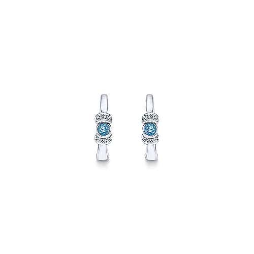 925 Sterling Silver Diamond & Swiss Blue Topaz Huggie Earrings angle 3