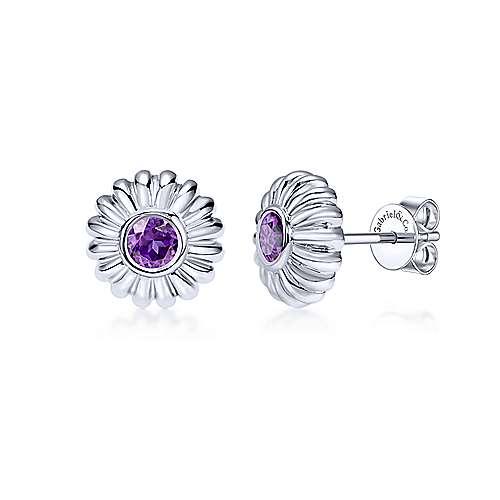 925 Sterling Silver Floral Round Amethyst Stud Earrings