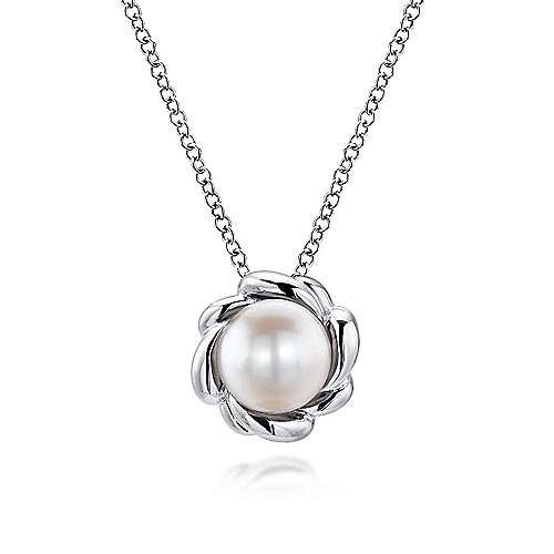925 Sterling Silver Flower Halo Cultured Pearl Fashion Necklace