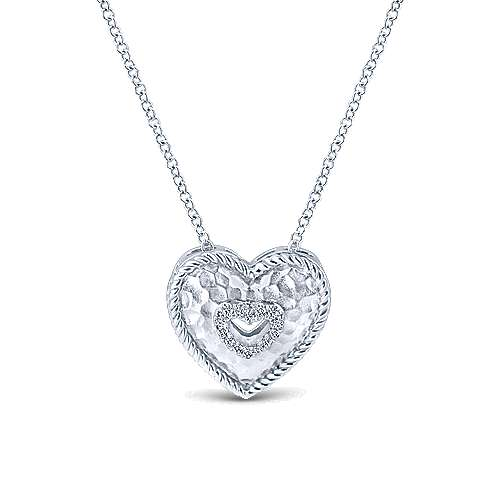 925 Sterling Silver Hammered Cutout Diamond Heart Necklace