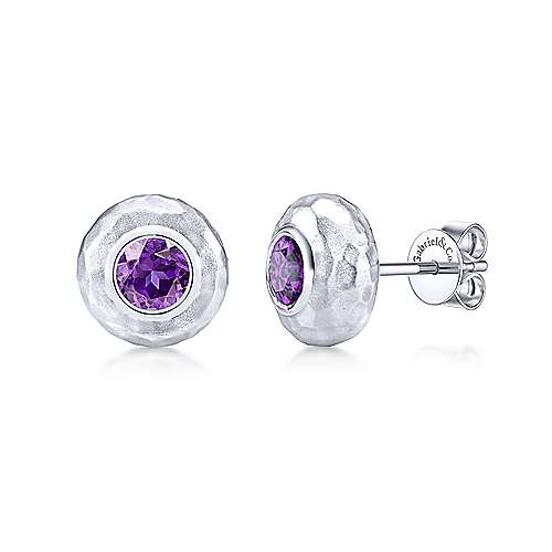 925 Sterling Silver Hammered Round Amethyst Stud Earrings