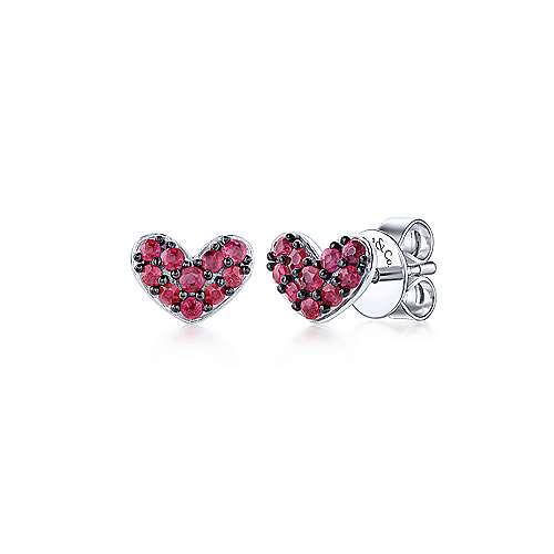 925 Sterling Silver Heart Shaped Ruby Stud Earrings