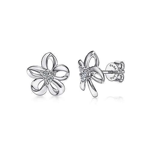 925 Sterling Silver Open White Sapphire Flower Stud Earrings