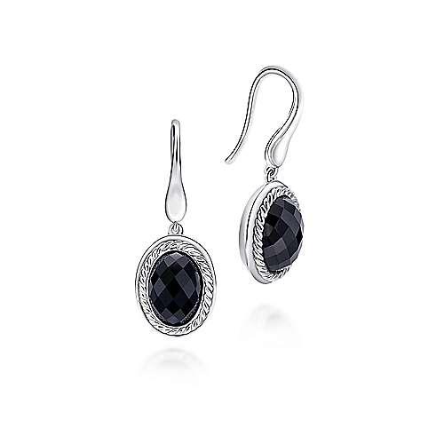 925 Sterling Silver Oval Onyx Drop Earrings