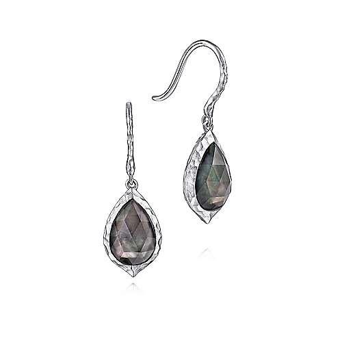 925 Sterling Silver Pear Shaped Rock Crystal & Black Pearl Drop Earrings
