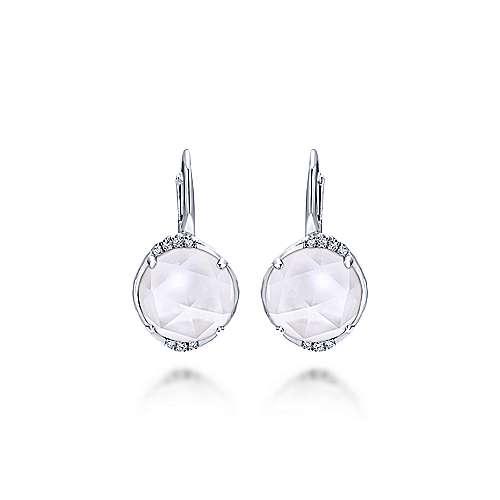 925 Sterling Silver Rock Crystal & Mother of Pearl Diamond Drop Earrings