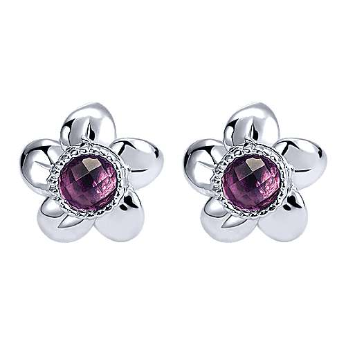 925 Sterling Silver Round Amethyst Flower Stud Earrings