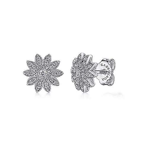 Gabriel - 925 Sterling Silver Round White Sapphire Stud Earrings