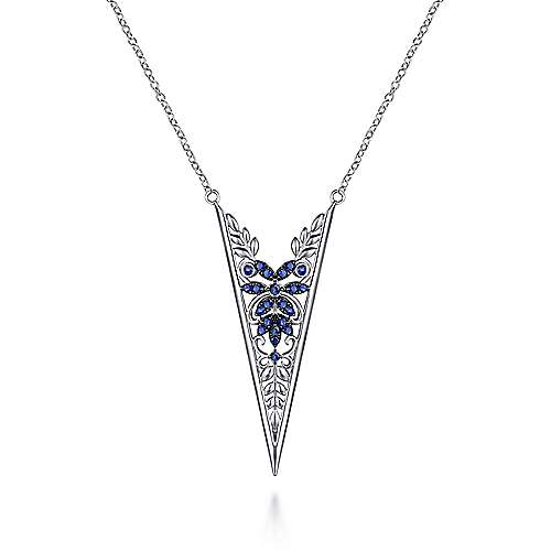 925 Sterling Silver Sapphire Openwork Floral Fashion Necklace