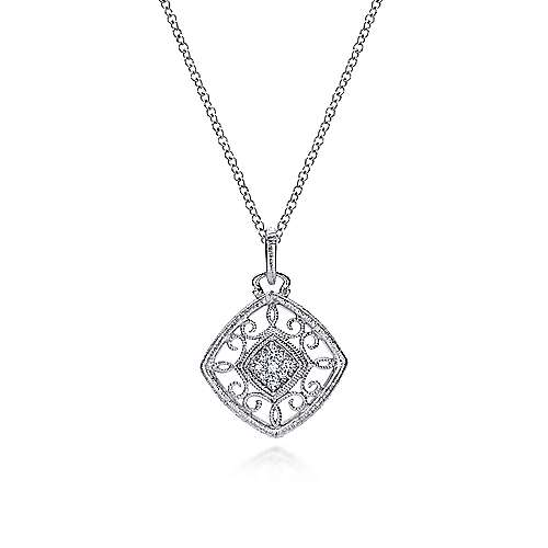 925 Sterling Silver Vintage Inspired Cushion Diamond Necklace