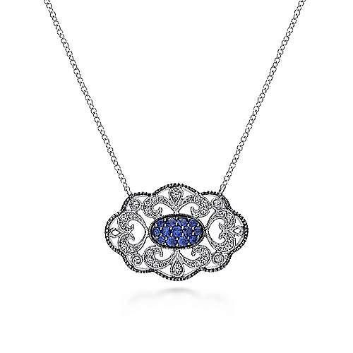 925 Sterling Silver Vintage Inspired Openwork Filigree Multi Color Stones Necklace