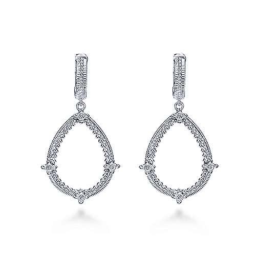 Gabriel - 925 Sterling Silver Vintage Inspired Pear Shaped Drop Earrings